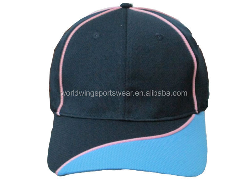 Unisex custom polyester coolmax navy , sky with pink piping baseball cap