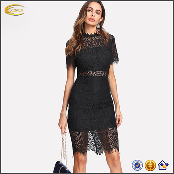Ecoach 2018 Party Dress Berdiri Kerah Lengan Pendek Polos Bulu Mata