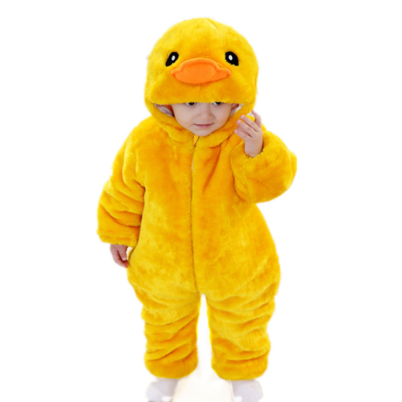 2015 Autumn Winter 13-18 Months Baby Sets Cartoon Yellow Duck Velvet Set Unisex Kids Romper Clothes Girls Boys Winter Clothes