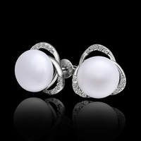 hot New products elegant freshwater pearl and diamond stud earrings in 925 sterling silver