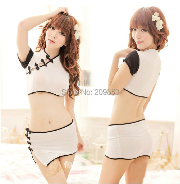 6a8e999317bb0 Get Quotations · Sexy lingerie Sexy cheongsam split multiple sets of  passion pajamas skirt uniform temptation sexy underwear Sexy