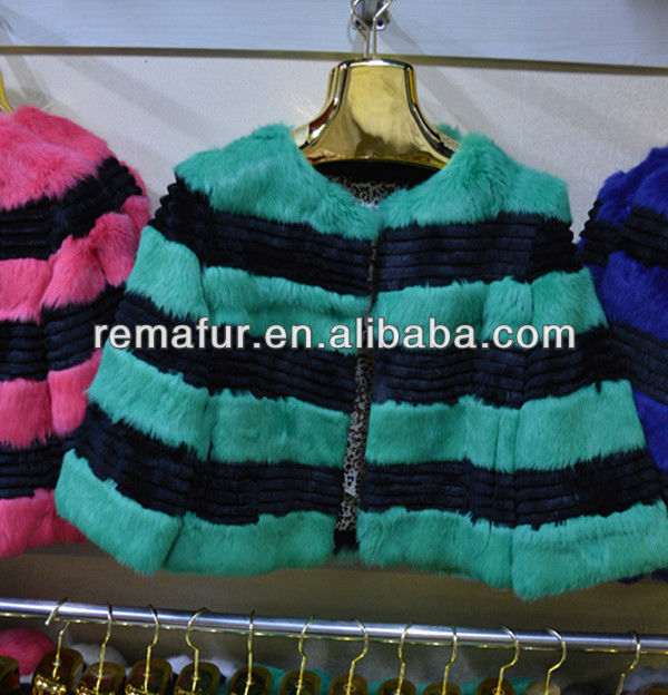 2016 New Design Contrast Color Women Rabbit Fur Coat