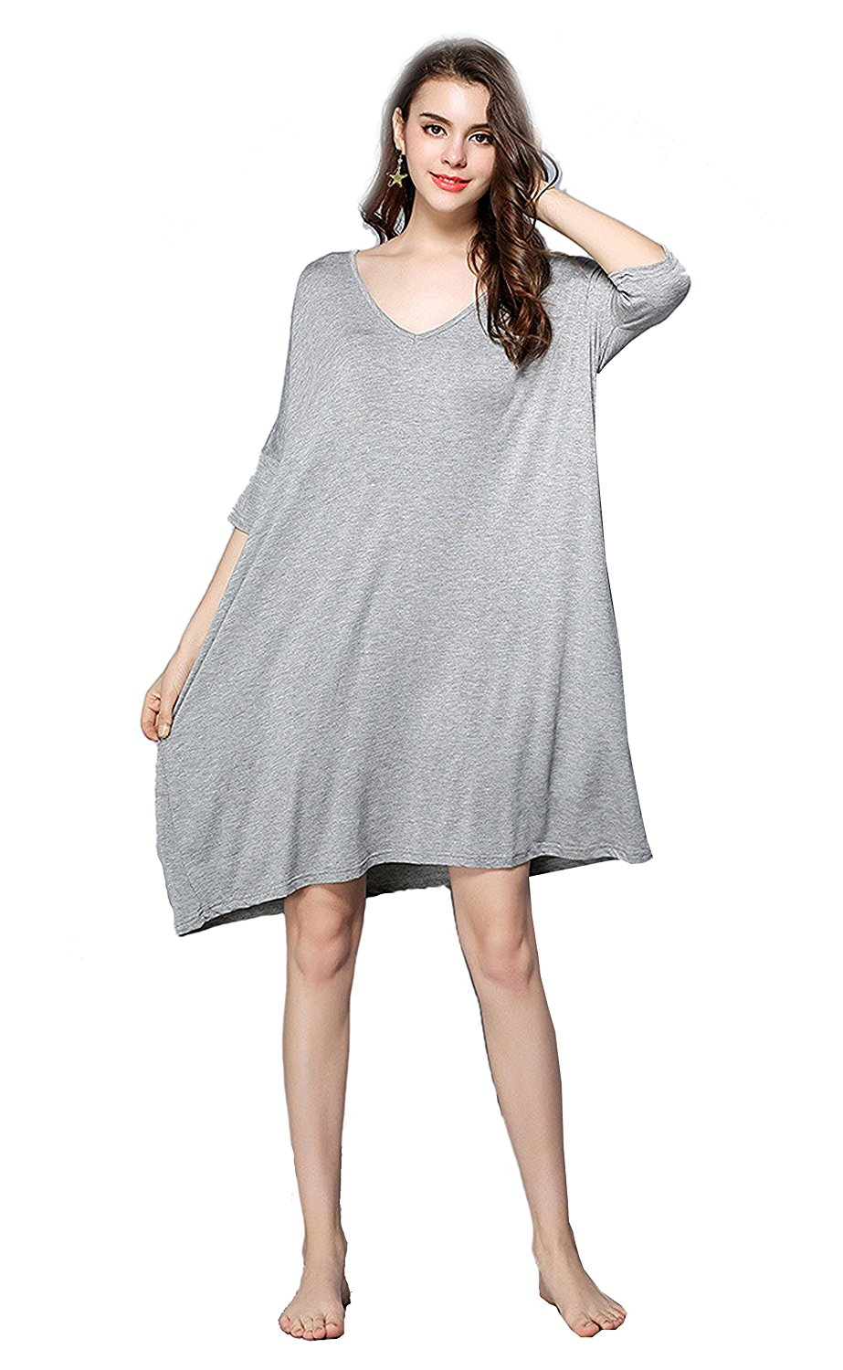 36afaec220e Get Quotations · EPLAZA Women Soft Modal Plus Size Nightgowns Sleep Lounge  Wear Dress Elbow Sleeve