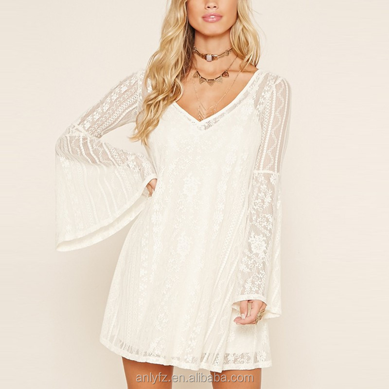 summer white dress long trumpet sleeve deep v-neck white lace dress sexy open back polyester spandex short white lace dress