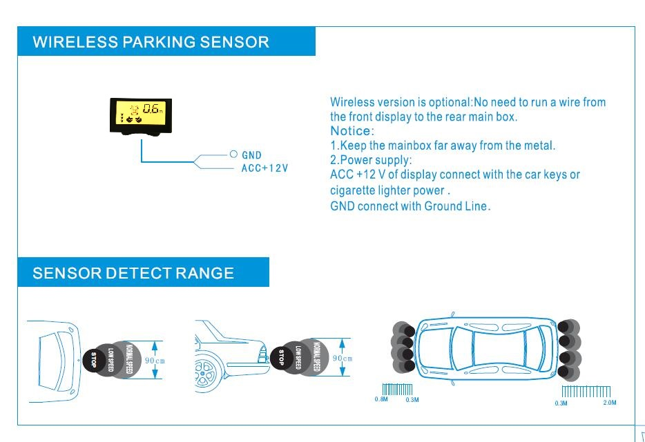 4 Sensor LCD display car Wireless parking sensors