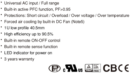 100 amp dc power supply dengan ul 24 v Meanwell RSP-500-24