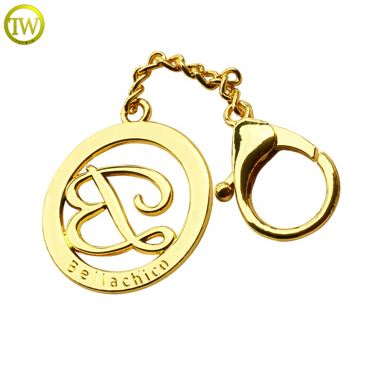 Custom hollow metal letters label round logo plate with chain for handbags
