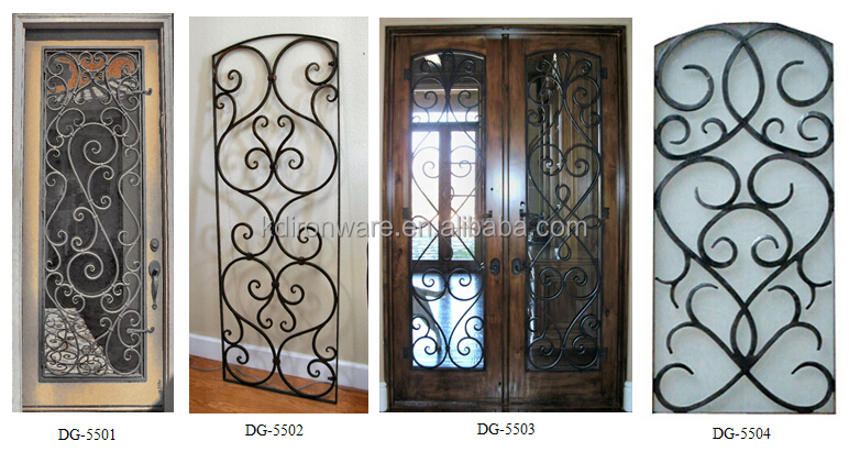 Por Decorative Wooden Door Wrought Iron Metal Grill Design