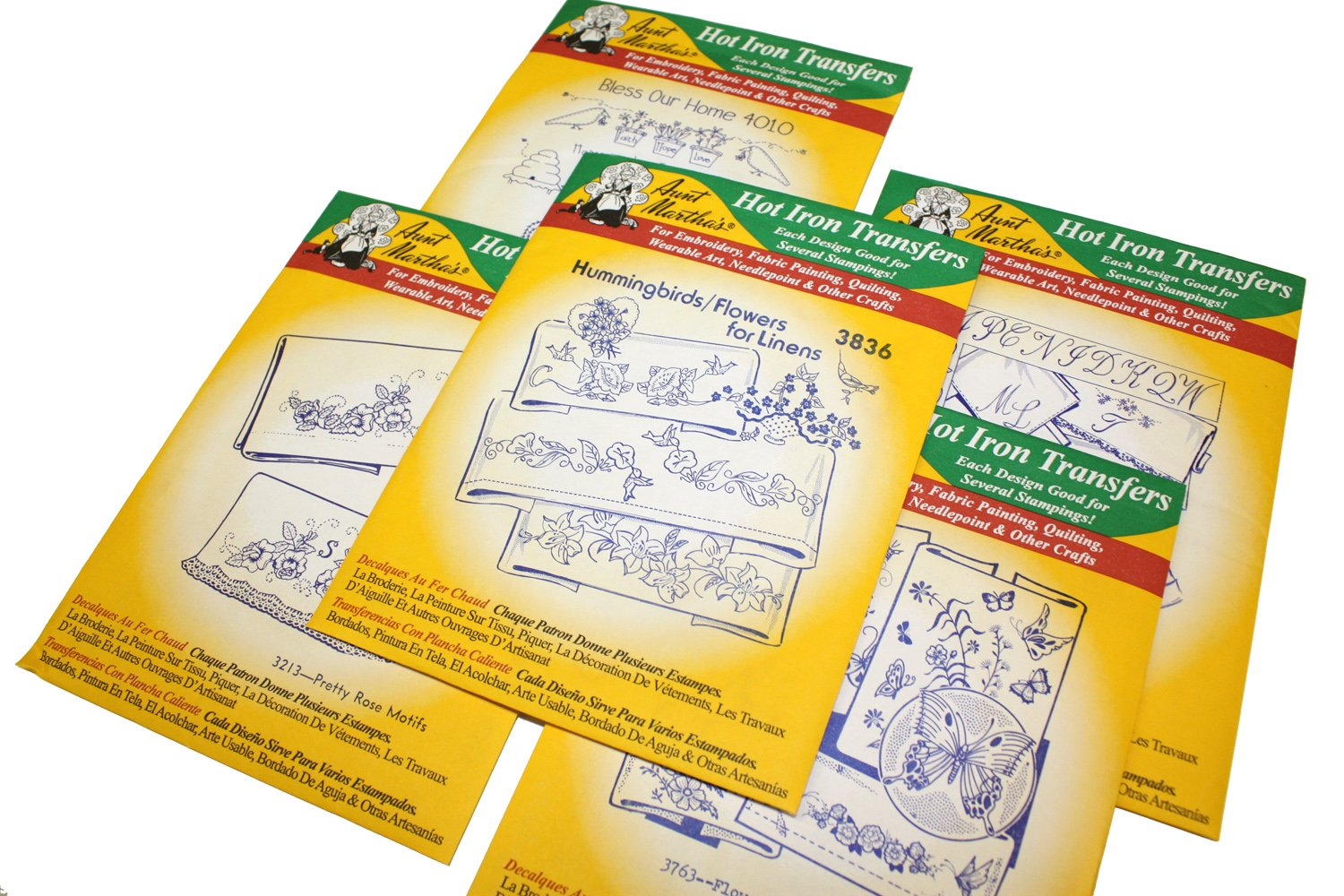 Aunt Martha's Iron On Transfer Patterns for Stitching, Embroidery or Fabric Painting, Patterns for Linens, Set of 5