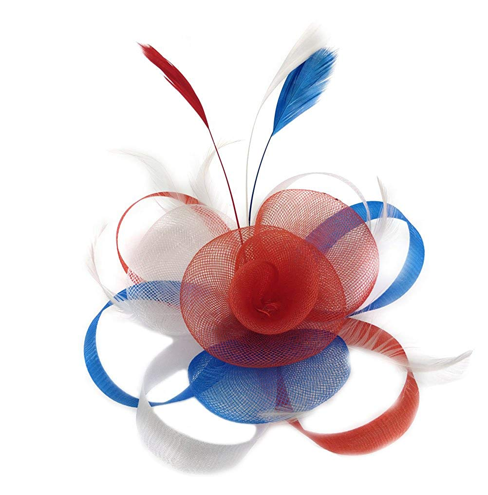7e19e8c0052 Get Quotations · Biruil Fascinator Hat Feather Mesh Net Veil Party Hat  Flower Derby Hat Clip Hairband for Women