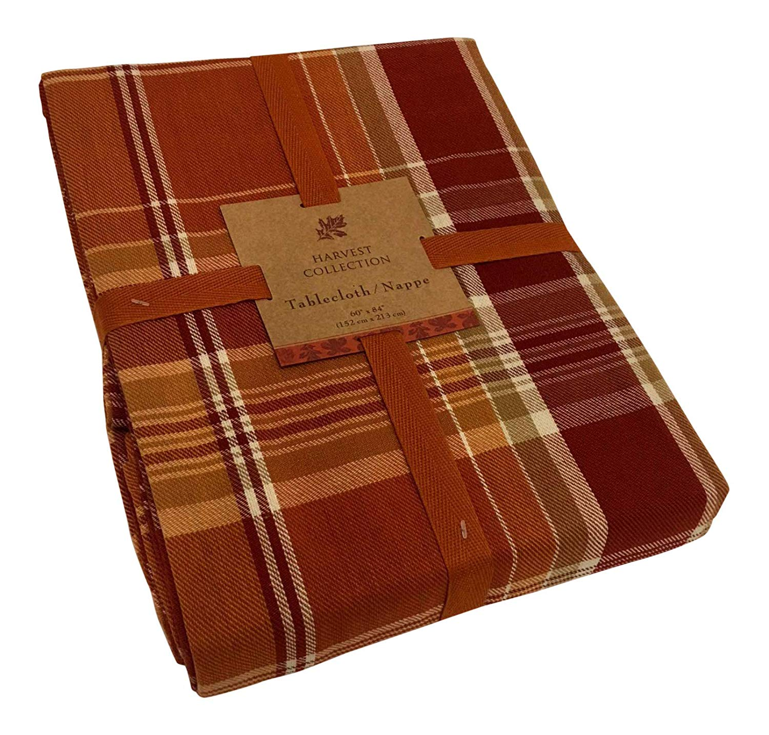 """Harvest Collection Cinnamon Spice Plaid Fall/Autumn / Thanksgiving Tablecloth 52"""" x 70"""" 