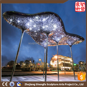 Modern Famous Stainless steel Arts Light cloud sculpture for Garden real estate decoration