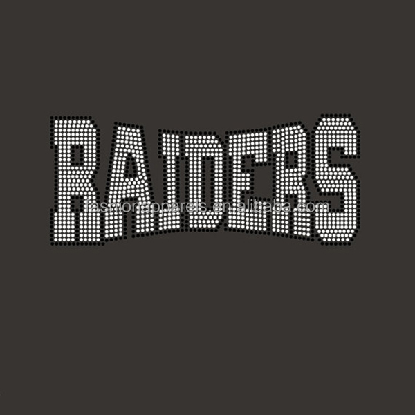 Bling high quality Raiders Rhinestone Hotfix Iron on Transfers