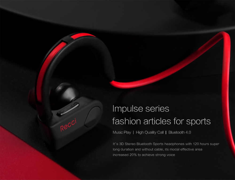 RECCI HD sound wireless earphone, stereo sport 4.1 bluetooth earphone, in ear & ear-hook headset, headphones