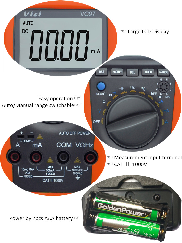 VC97 wholesale best multimeter model digital voltmeter amperemeter tester