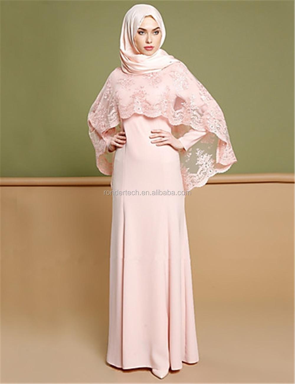Gaun Malam Arab Muslim Jilbab Untuk Gaun Pengiring Pengantin Renda Katun  A-line Lengan Panjang Elegan Abu-abu Pink Dresses Gaun - Buy Gaun Malam  Untuk
