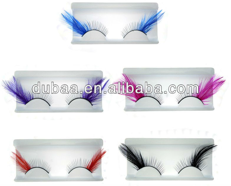 Factory Fantasy Feather False Eyelashes Wholesale Fake Eyelashes Costume Crazy Party Cheap Eyelash Extension