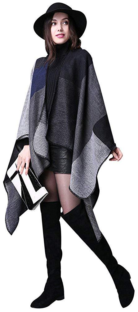 BeAllure Women's Oversize Shawl Blanket Extra Large Knitted Cardigan Poncho Cape Autumn Winter