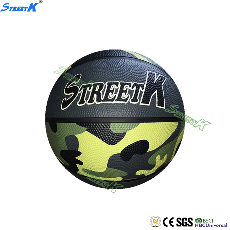 streetk brand printed rubber basketball ball size 6 glossy basketball
