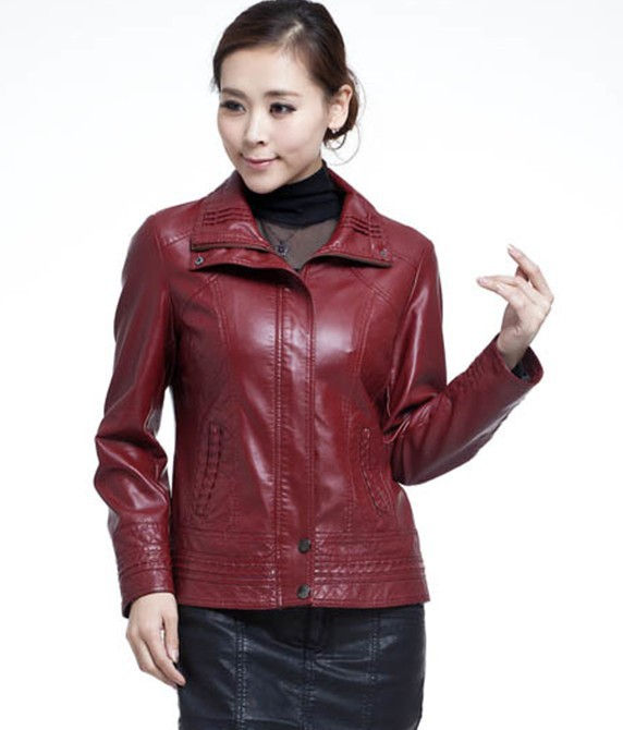 Plus size leather coat women 2015 new leather jacket women short design slim motorcycle leather clothing female outerwear red