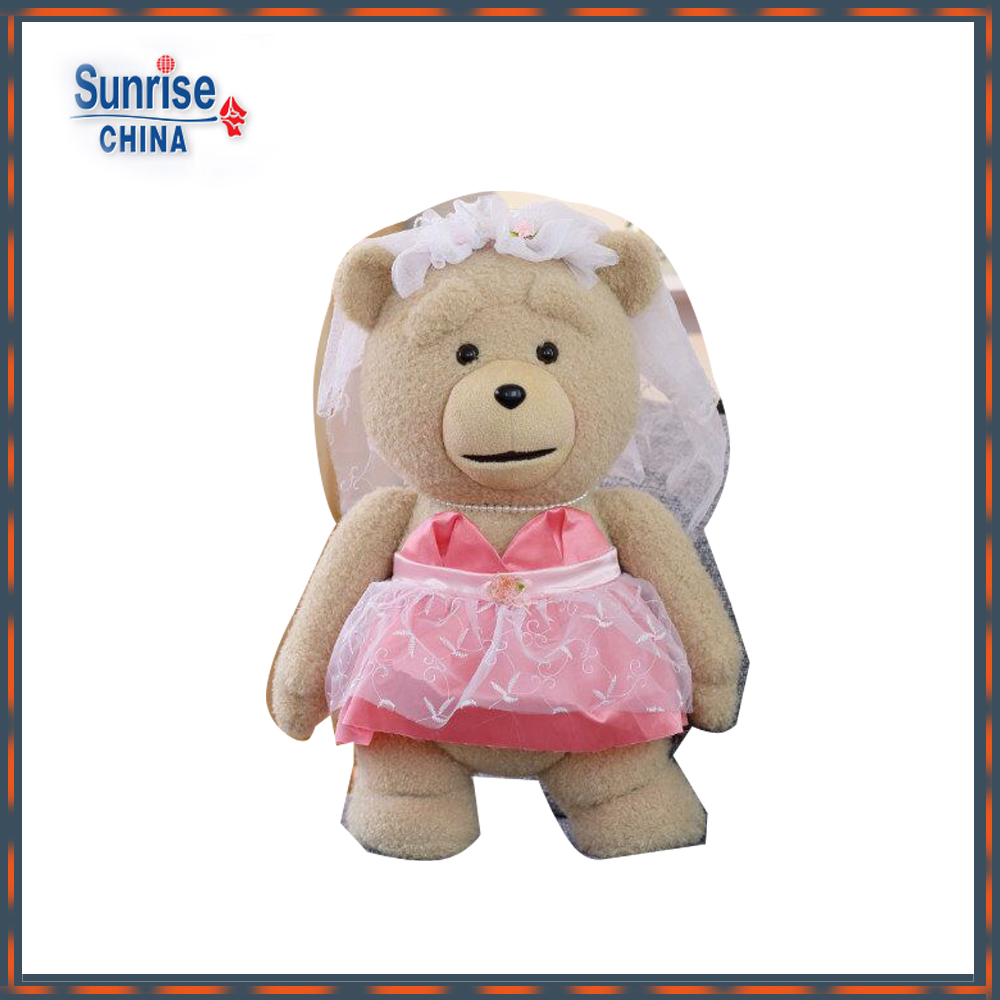 40/60/80cm beautiful lovely customized stuffed plush teddy bear bride doll toy with white wedding veil&pink skirt