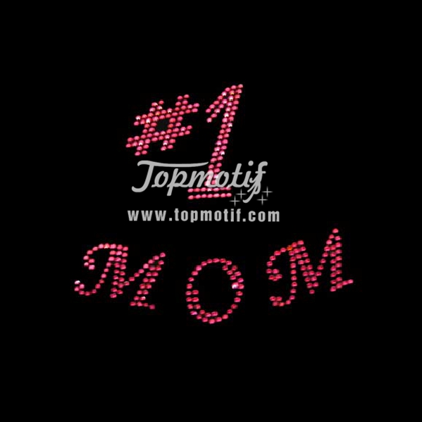 #1 mom mother's day rhinestone transfer hot fix motif