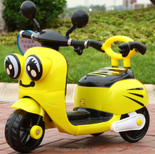 Beautiful 3 wheels mini plastic kids ride on electronic toy car baby motorcycle