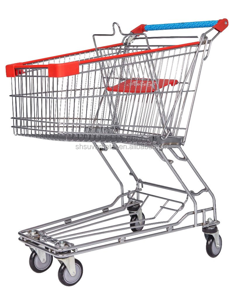Supermarket rolling coin lock shopping cart/Trolleys with small wheels
