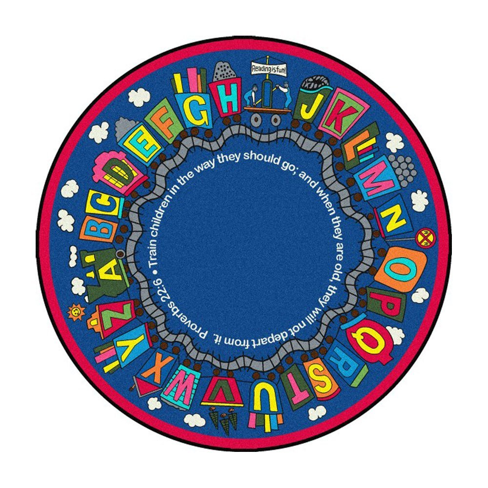 "Kid Essentials - Inspirational Area Rugs Bible Train Rug - 7'7"""" Round - Multi Toys Christmas Gift"