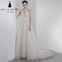 0b540a794959a0 Vrouwen Champagne Mouwloze Formele Wedding Party Prom Gown Bruidsmeisje Jurk  Met Bow Sash