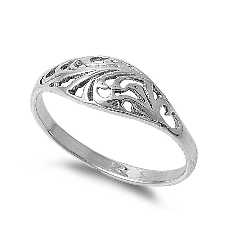 CloseoutWarehouse Filigree Designer Petite Rings Sterling Silver 925