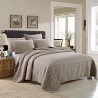 100% Cotton Embroidered Free Stich Real Simple Home Quilts & Sham, 4Pcs
