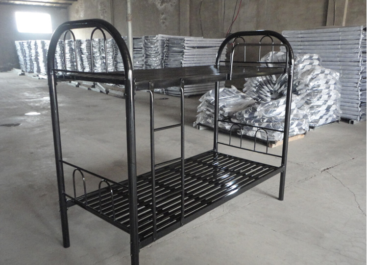 School dormitory metal bunk bed /single folding bed /professional soldier steel bed with storage cabinet