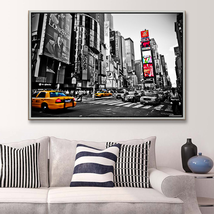 Free shipping modern oil painting for home deco wall hanging art New York time for living room Decorative on canvas prints N067
