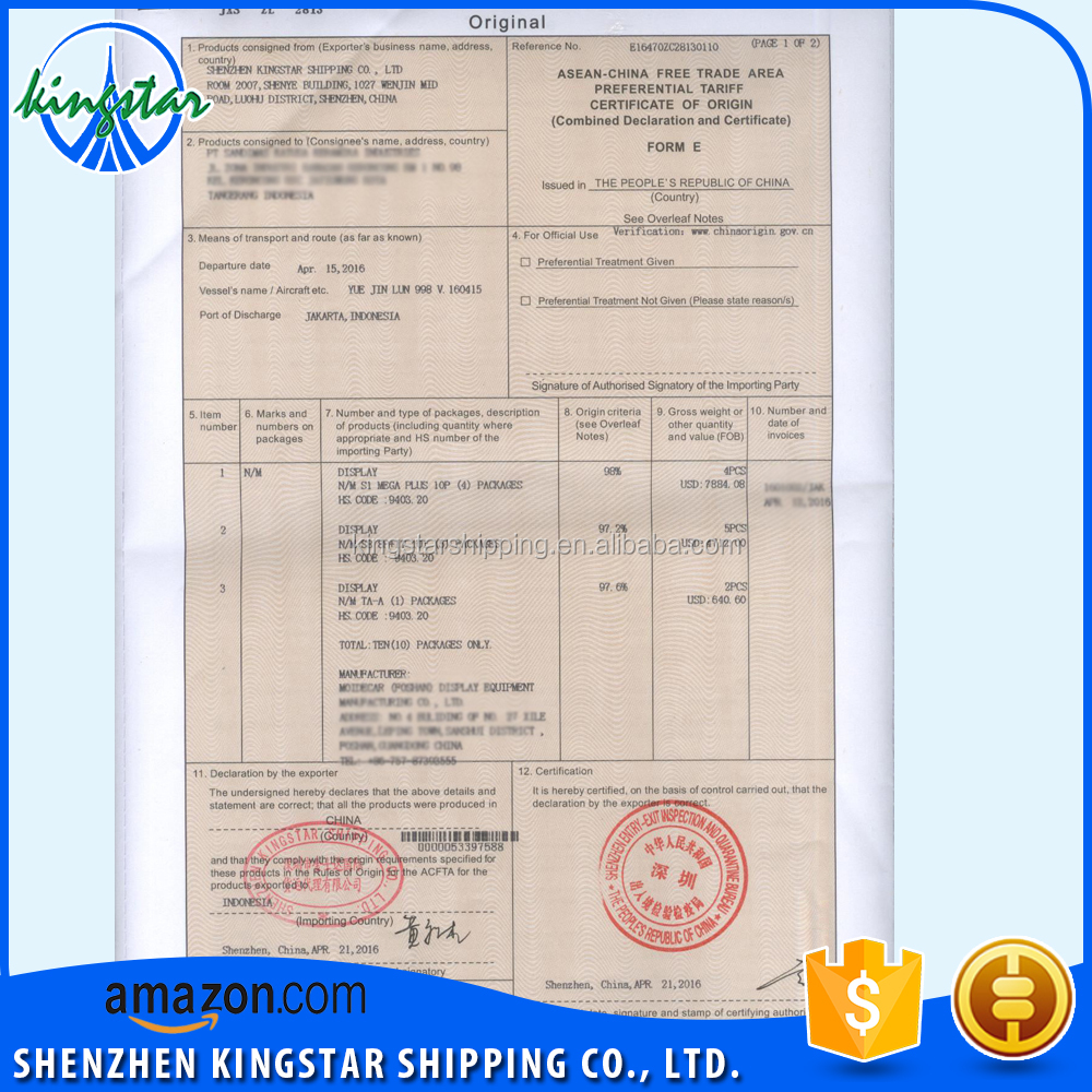Export Philippines China Forme Certificate Of Conformity Service