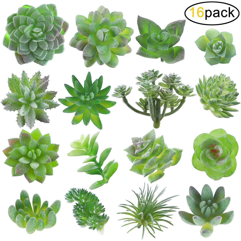 Fake Succulent, Artificial Succulents, Faux Succulents, Artificial Succulents Plants, Fake Succulent Unpotted, Bulk Artificial Succulents for Birthday Home Decor Indoor Wall Garden DIY, Pack of 16 Pcs