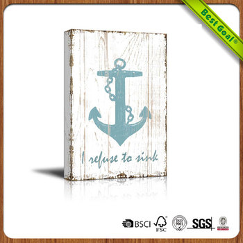 Home Is Where The Anchor Drops Decor Vintage Wooden Hanging Wall Art