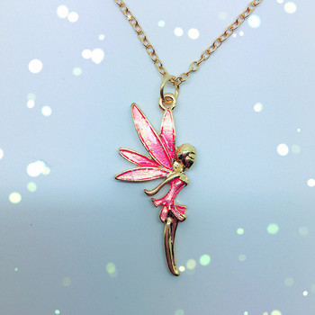 Pink enamel angel fairy pendant necklace buy fairy necklacegold pink enamel angel fairy pendant necklace aloadofball Image collections