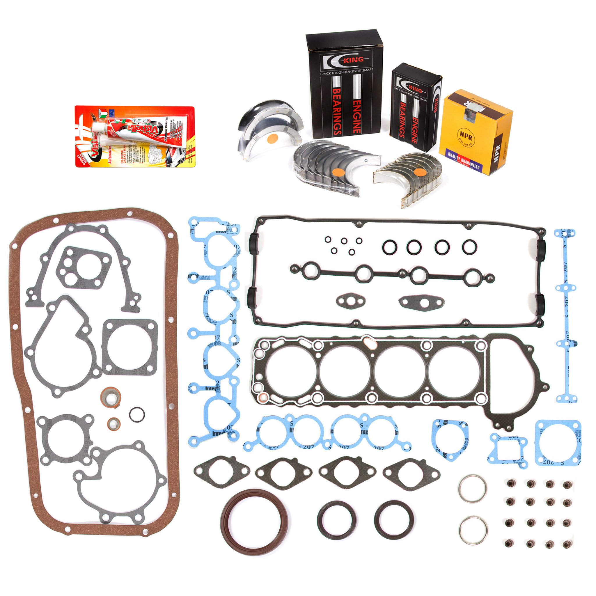 Domestic Gaskets Engine Rering Kit FSBRR3003\0\0\0 91-94 Nissan 240SX 2.4 KA24DE Full Gasket Set, Standard Size Main Rod Bearings, Standard Size Piston Rings