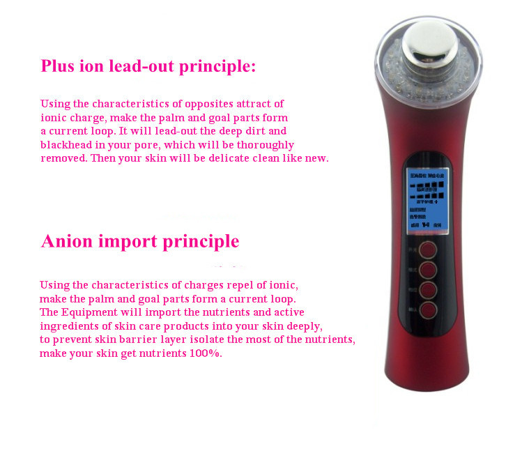 As Seen On TV Photon Galvanic Ion Ultrasonic Beauty Facial Massager