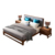 European Style Solid Wood Walnut Bedroom Furniture Double Size Bed