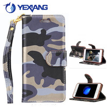 Wholesale Army Camouflage PU Leather Cell Phone Case For S6 Card Holder Flip Leather Case