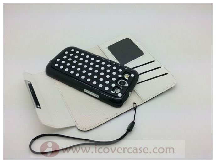 2012 custom cute polka dot Wallet leather case for samsung galaxy s3 i9300