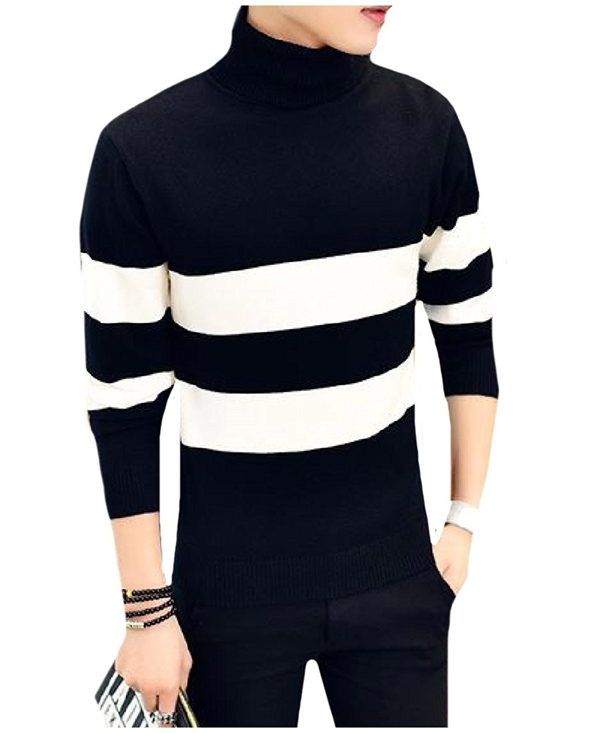 XQS Mens Casual Slim Fit Turtleneck Pullover Thermal Sweaters Top