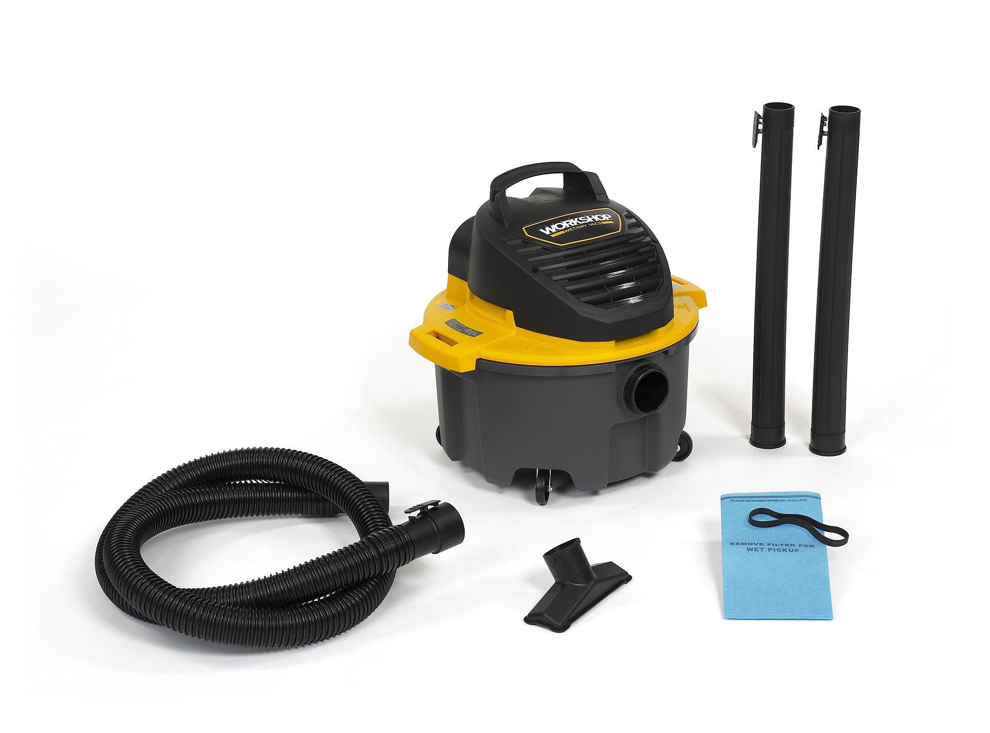 WORKSHOP Wet Dry Vac WS0500VA Portable Wet Dry Vacuum Cleaner, 5.0-Gallon Small Shop Vacuum Cleaner, 2.5 Peak HP Portable Vacuum