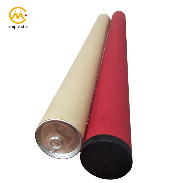 Factory custom color long large cardboard poster mailing packaging paper tube with lid