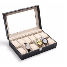 12 슬롯 큰 capacity black PU leather gift luxury watch box 와 디스플레이 창 대 한 watch <span class=keywords><strong>포장</strong></span> 및 storage