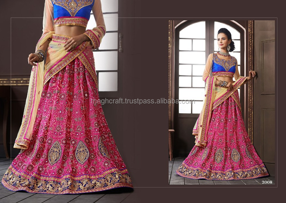 Hot Pink And Blue Combination Lehenga Stani Bridal 2017 Indian Designer