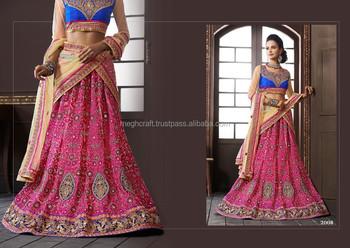 Hot Pink And Blue Combination Lehenga Stani Bridal 2017 Indian