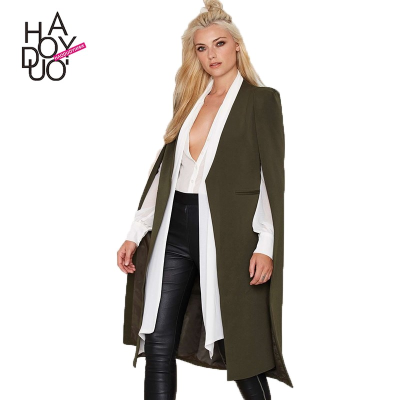 HAODUOYI Women Fashion New Multi Colors Clothing Casual Loose Cape Coat Outwear Open Long Stitch Cloak Coat for Wholesale